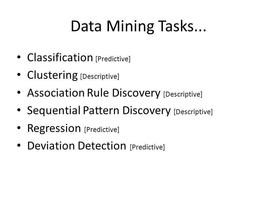 Data Mining Tasks... Classification [Predictive]